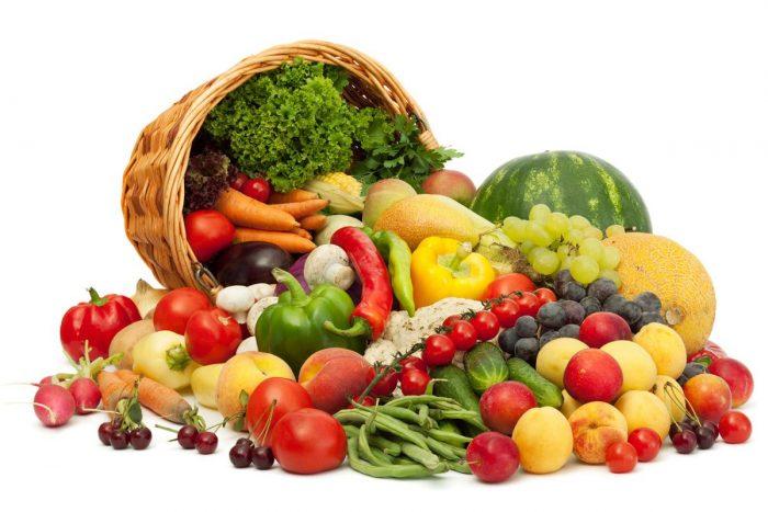 употребление овощей, фруктов, злаков и зелени