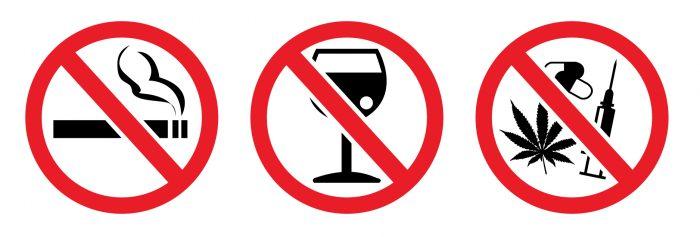 отказ от курения, алкогольных напитков, наркотиков